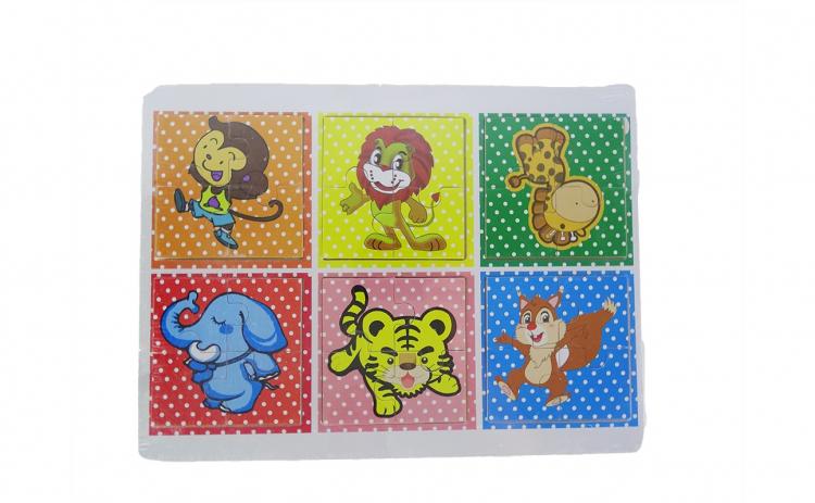 Set 6 puzzle- uri din lemn cu animale