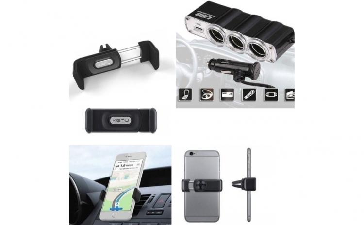 Priza bricheta tripla cu USB + Suport auto telefon