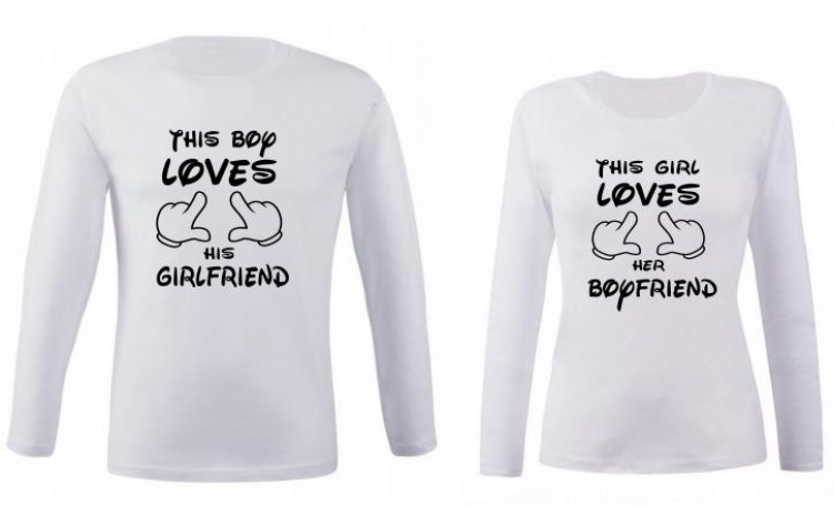 Set de bluze albe pentru cupluri This girl/boy loves her/his boyfriend/girlfriend