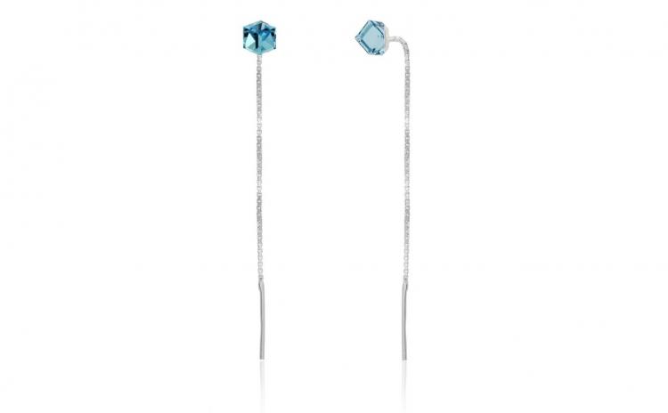 Cercei Cub cu lantisor Mini Aquamarine