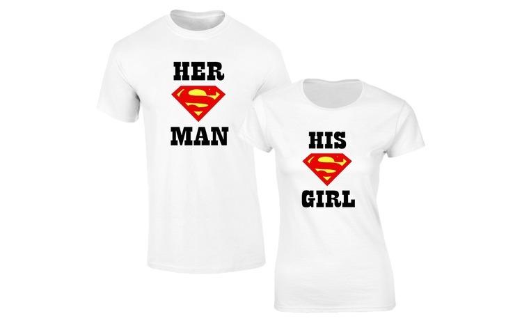 Set de tricouri albe Superman COD SA211