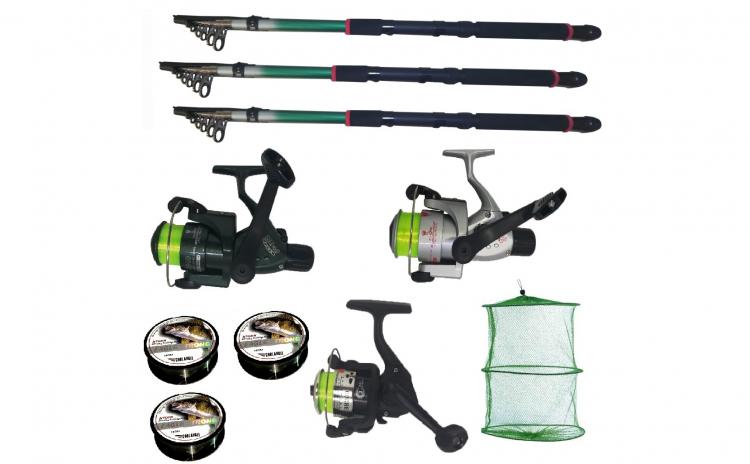 Set pescuit cu 3 lansete de 2.4m