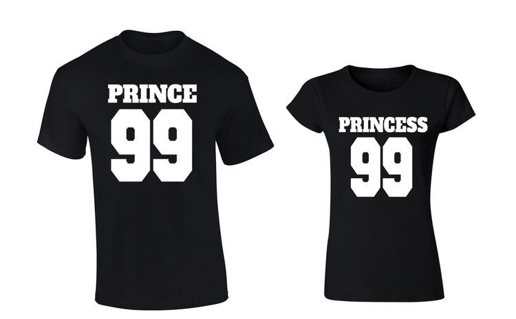 Set de tricouri negre Prince/Princess