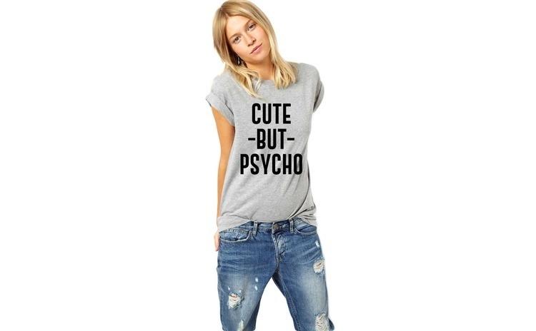 Tricou dama gri - Cute But PSYCHO
