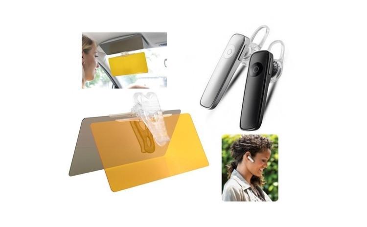 Parasolar auto + Casca Bluetooth