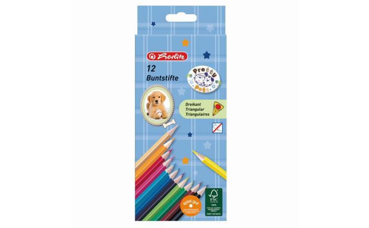 Creioane Color Triunghiular Set 12 Pretty Pets