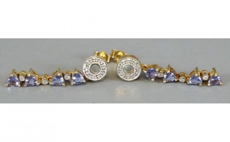 Cercei din Aur cu Tanzanite si Diamante
