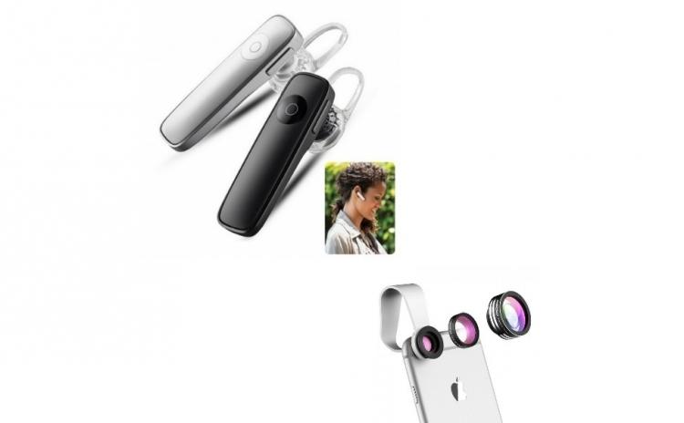 Casca Bluetooth + Lentile telefon