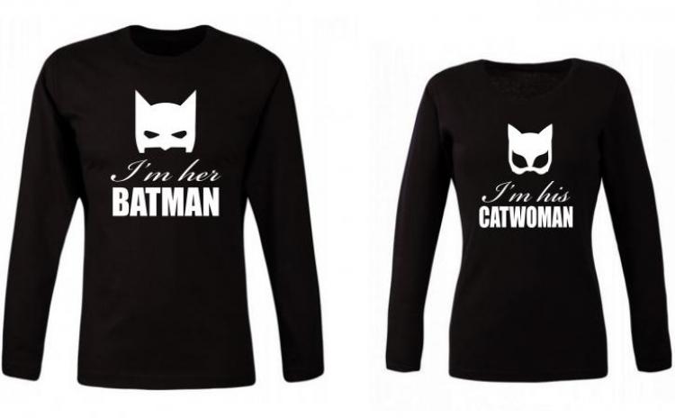 Set de bluze negre pentru cupluri Batman si Catwoman