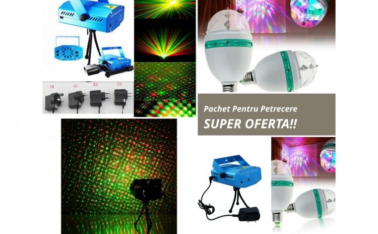 Pachet petrecere copii: Mini-proiector laser si 2 becuri rotative cu led