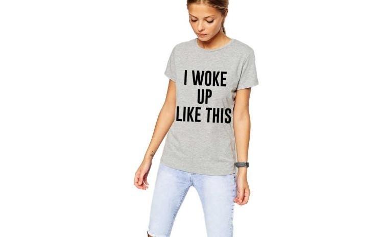 Tricou dama gri -  I woke up like this