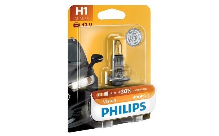 Imagine indisponibila pentru Bec auto cu halogen pentru far - Philips H1 Vision, +30%, 12v, 55w, 1 Buc