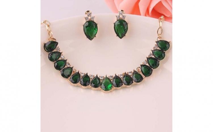 Set bijuterii Oval Green Crystal