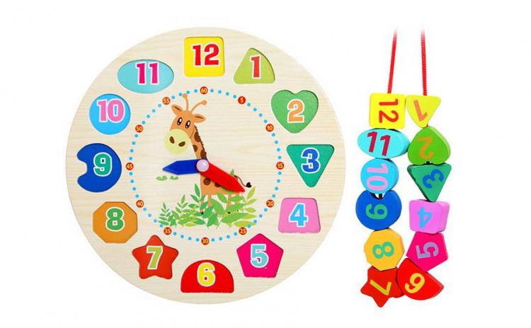 Jucarie pentru copii din lemn tip ceas