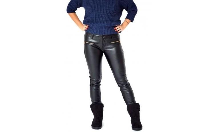 Pantaloni De Dama Negri Insertii Piele/textil La Doar 100 Ron In Loc De 222 Ron