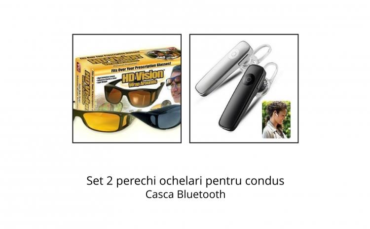 Ochelari de condus + casca Bluetooth