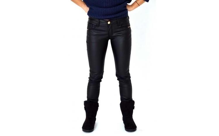 Pantaloni De Dama Negri Imitatie Piele La Doar 100 Ron In Loc De 222 Ron