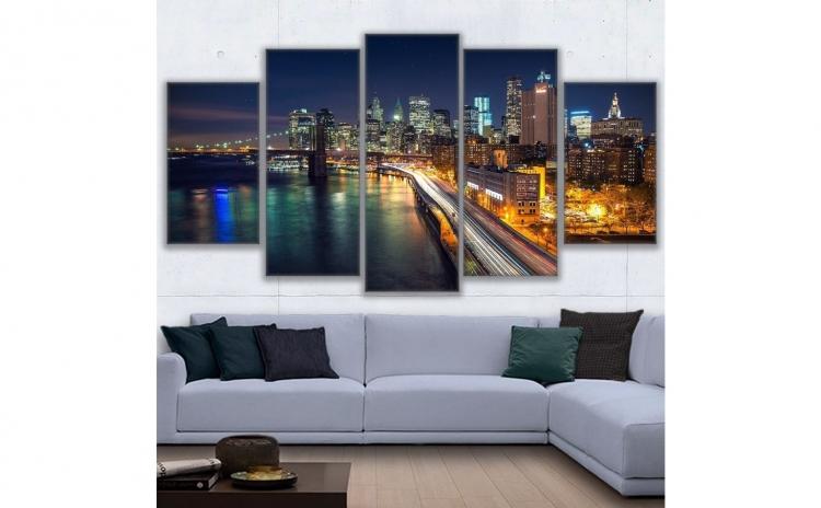 Set tablou Canvas, peisaj urban, 5 piese