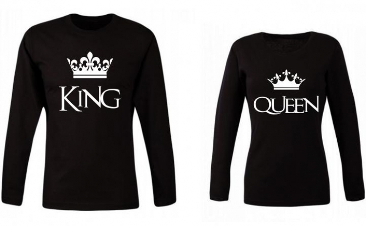 Set bluze negre pentru cuplu KING si QUEEN