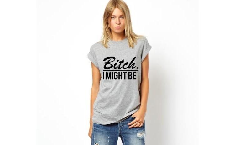 Tricou dama gri - Bitch