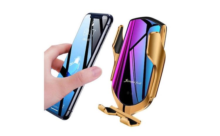Suport telefon auto cu incarcare auriu