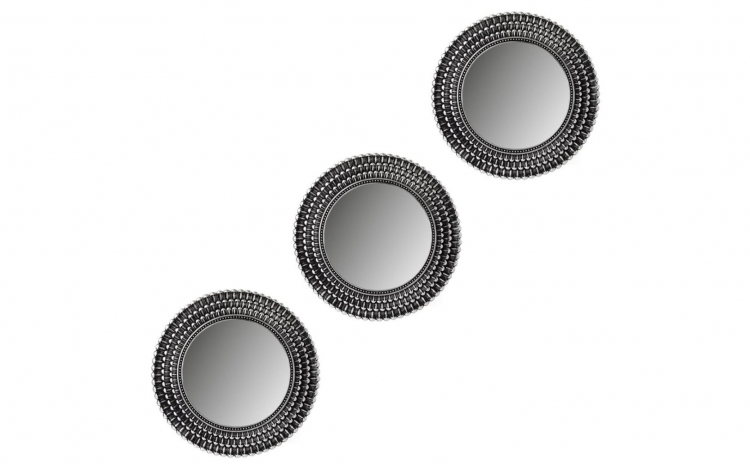 Set 3 oglinzi perete - argintiu-negru
