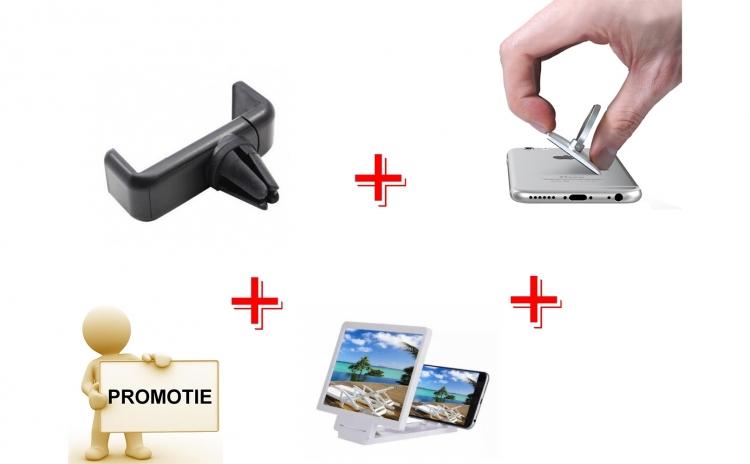 Ecran lupa pentru telefon + suport auto telefon grila + inel telefon pt deget metalic