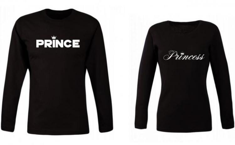 Set bluze negre pentru cupluri PRINCE si Princess