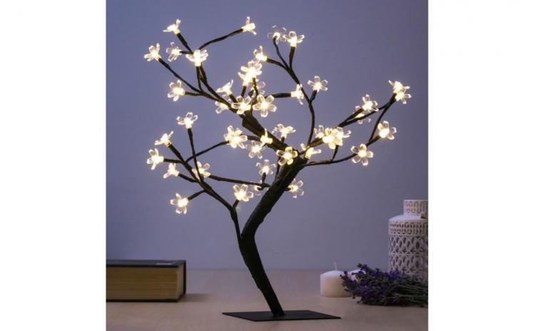 Pom decorativ cu flori (48 LED-uri)-decorati cu originalitate casa dvs. cu pomul decorativ cu flori