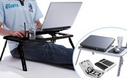 Lucreaza la laptop din pat: Masa laptop E-Table multifunctionala + coolere incorporate, compatibila cu orice tip de laptop, la doar 59 RON in loc de 120 RON