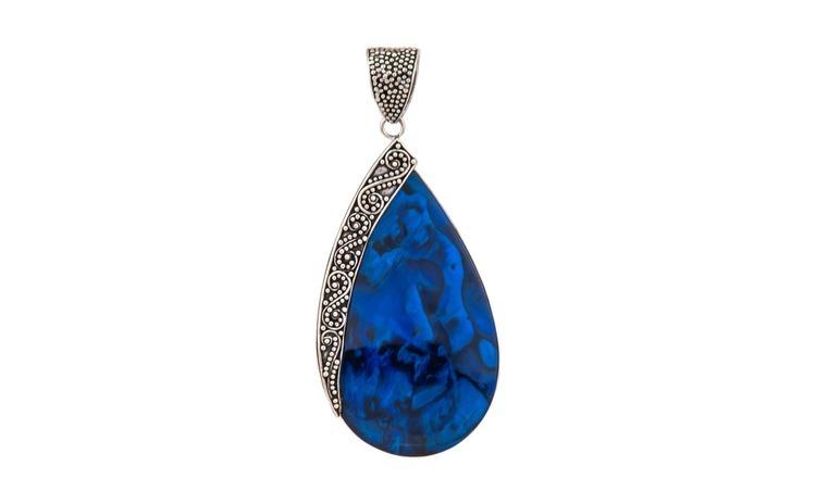 Pandantiv argint 925 Tear Blue Abalone