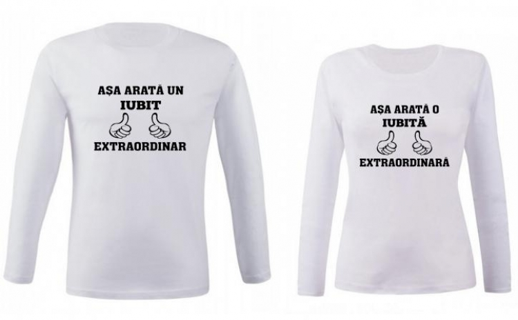 Set de bluze albe pentru cupluri Asa arata un iubit/o iubita