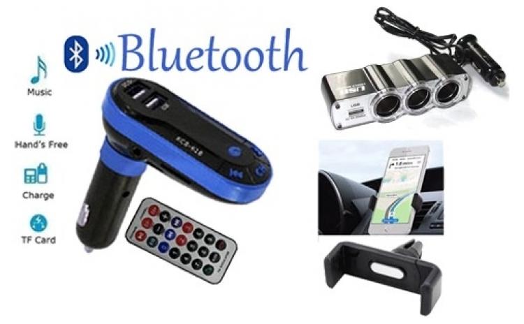 Modulator FM Mp3 player, cu 2 porturi USB + Priza bricheta tripla cu USB + Suport auto telefon