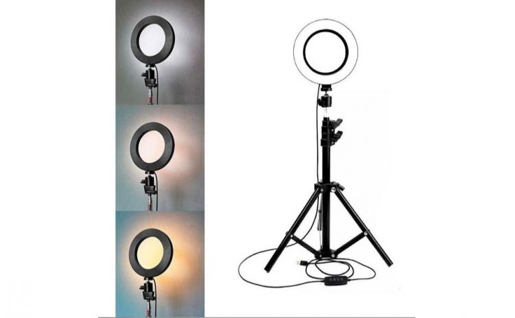 Lampa circulara cu trepied si suport