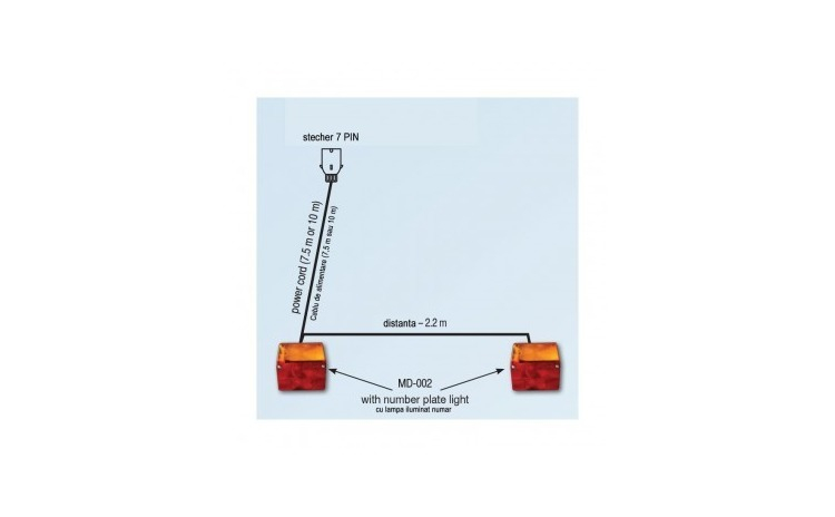 Kit stop lampi MD-002 cu fisa 7 pini