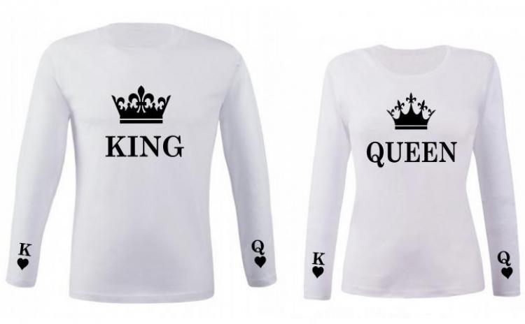 Set de bluze albe pentru cupluri King si Queen New