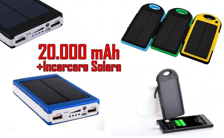 Baterie externa 20000 mAh cu incarcare solara