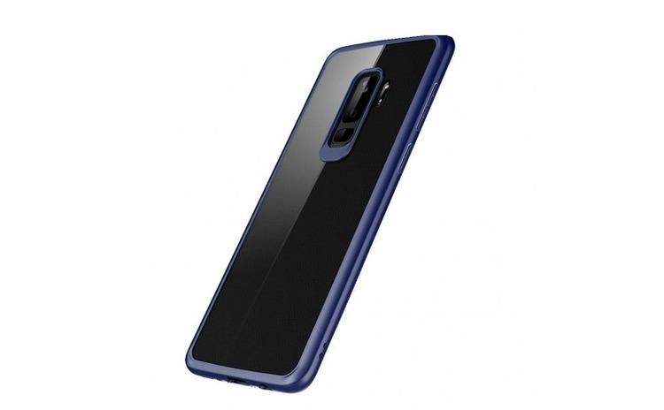 Husa Samsung Galaxy A8 2018 Flippy Transparent cu Margini Albastre