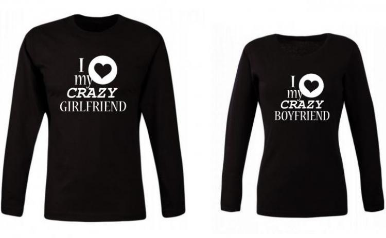 Set de bluze negre pentru cuplu Crazy Girl/Boy