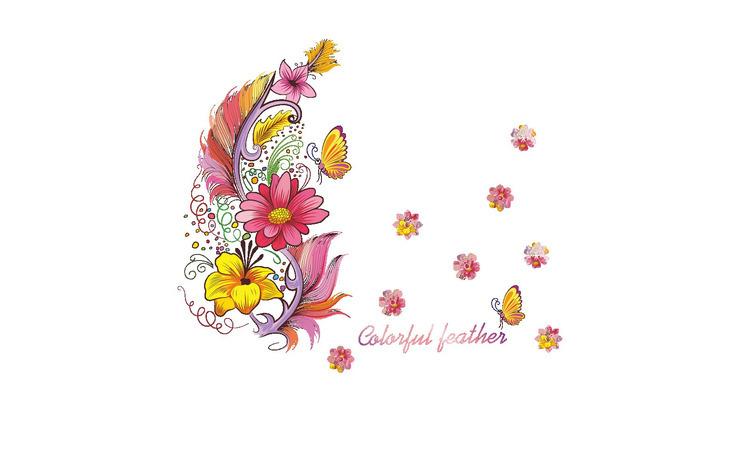 Sticker decorativ, Colorful feather, 74