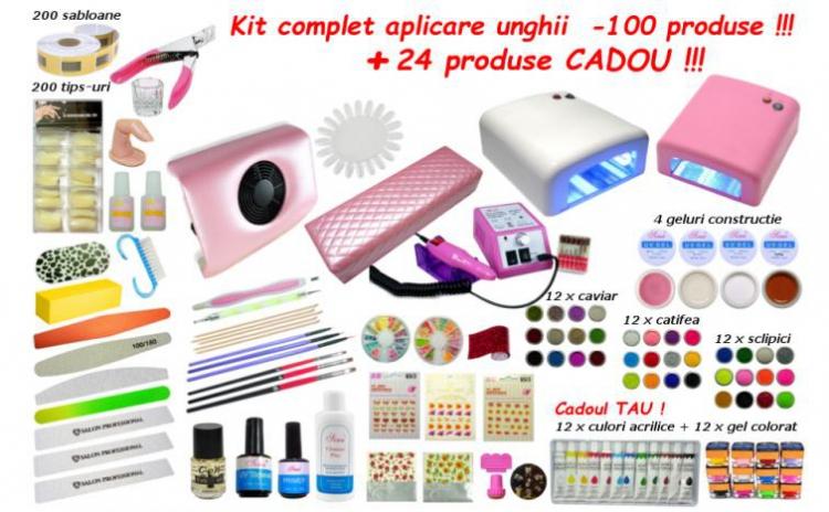 Kit Complet Aplicare Unghii Cu Gel 100 Produse 24 Produse