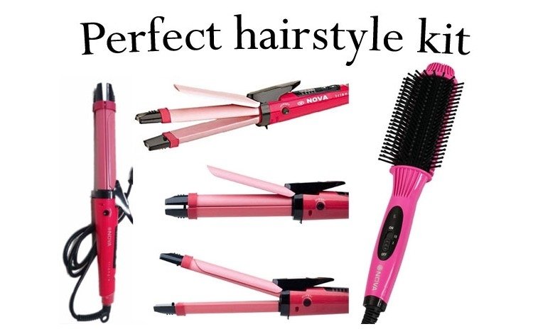 Perfect hairstyle kit - Ondulator de par Hair Beauty 2 in 1 + Perie de par Nova 2 in 1, la numai 109 RON de la 229 RON