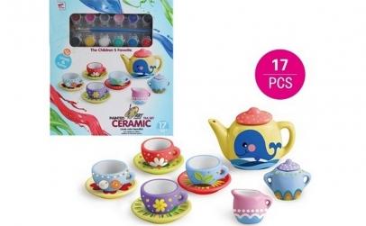 Set de ceai din ceramica, pentru pictat