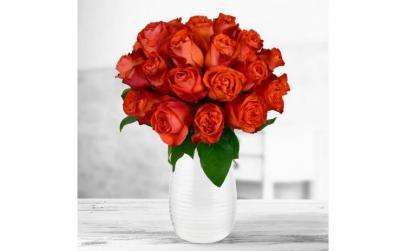 Buchet de 25 trandafiri portocalii