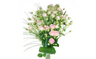 Buchet de 7 minirosa albi-roz