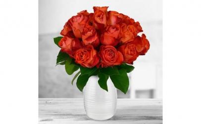 Buchet de 17 trandafiri portocalii