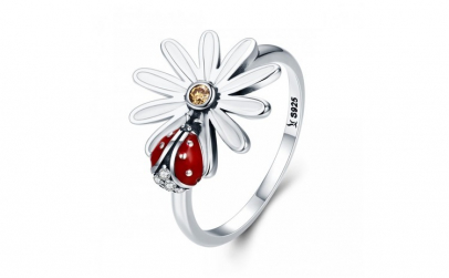 Inel argint 925 cu floare si gargarita