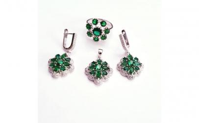 Set bijuterii din Argint cu Safire