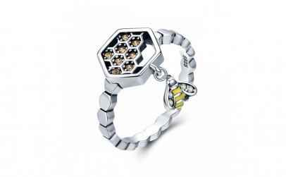 Inel argint 925 cu fagure si albinuta