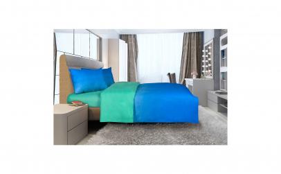 Lenjerie de pat dublu, Verde/Albastru